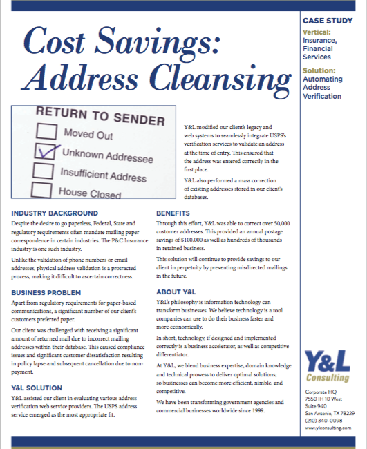 Cost Savings: Address Cleansing