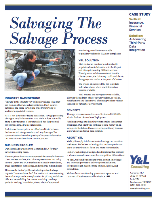 Salvaging - Case Study