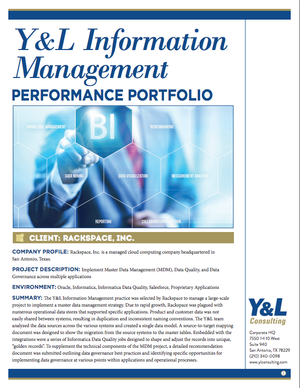 Y&L Information Management Performance Portfolio
